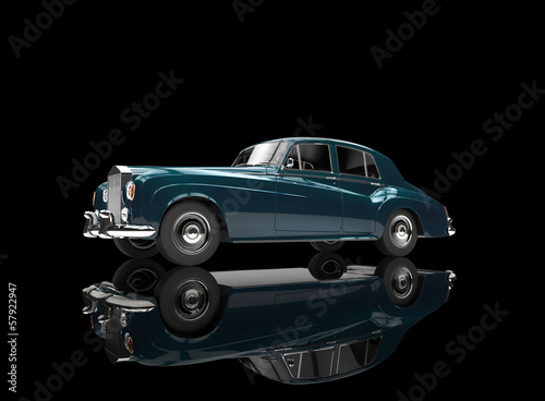 Blue Green Metallic Vintage Car On Black Background