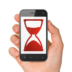 Time concept: Hourglass on smartphone