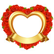 Vector frame with red roses and golden ribbon
