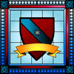Coat of arms stained glass window with blank scroll banner
