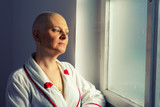 Bald woman cancer patient in the hospital