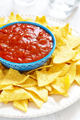 Nachos corn chips with fresh salsa