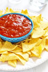 Nachos corn chips with fresh salsa