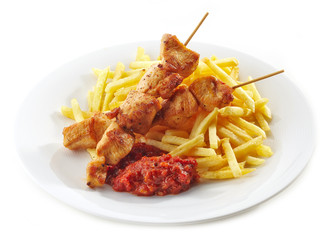 grilled chicken meat and french fries