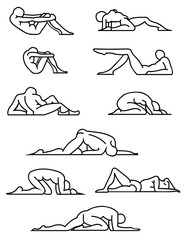Set of yoga/stretching poses. Vector