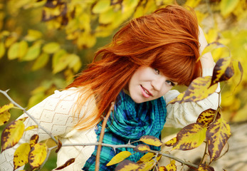 young woman in fall