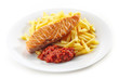 grilled salmon fillet and french fries