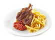 grilled lamb meat and french fries