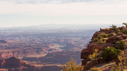 Hikers looking out over Dead Horse Point