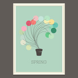 Colorful spring poster with magic plant. Vector illustration