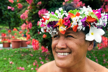 Portrait of Polynesian Pacific Island Tahitian mature woman Aitu