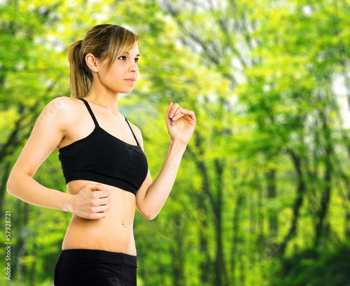 Woman running in a park
