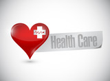 health care heart and lifeline illustration design poster