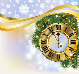 New Year golden background, vector illustration
