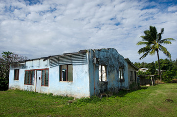 Destroyed house from Cyclone Pat  in Aitutaki Lagoon Cook Island