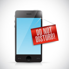 phone with a do not disturb hanging sign