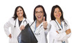 Hispanic Female Doctors or Nurses with Thumbs Up Holding X-ray