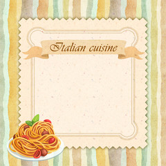 Italian cuisine restaurant menu card design in vintage style