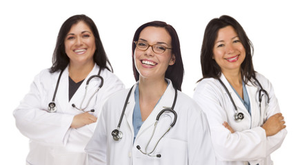 Three Hispanic and Mixed Race Female Doctors or Nurses