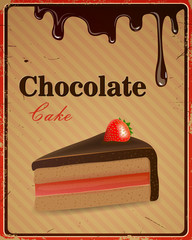 Vector Illustration of a Vintage Chocolate Cake Sign