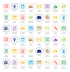 SEO and Development icon set4, box and circle series