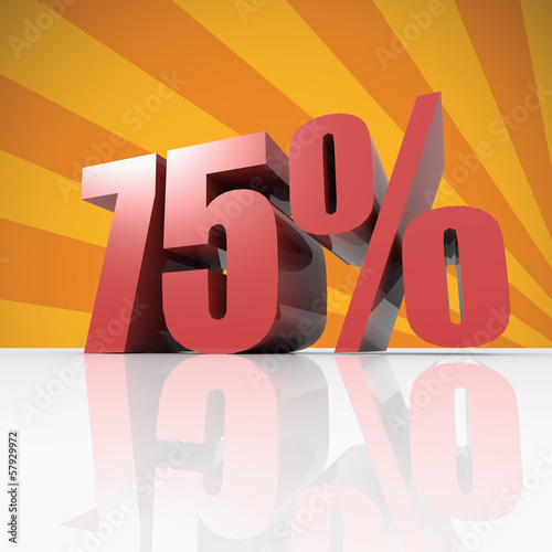 75 percent discount in red letters on a orange background