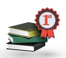 Book with award ribbon
