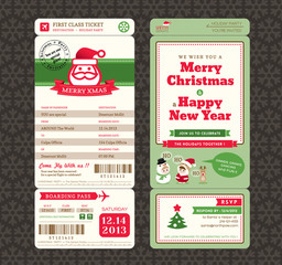 Christmas Card Design Boarding Pass Ticket Template