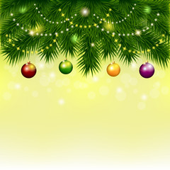 Vector background with Christmas tree and balls