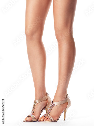 Young woman legs in sandals
