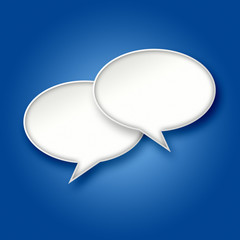 3D White chat bubbles on blue background