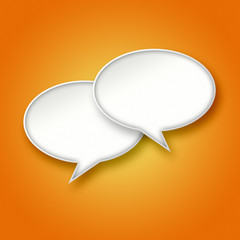 3D White chat bubbles on orange background