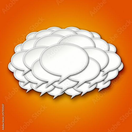 3d Chat Bubbles Storm Cloud on Orange Background