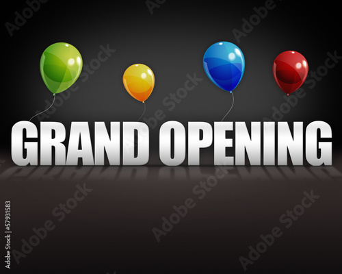 3d Grand Opening Balloons Black Background