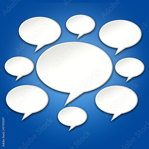 Chat Bubbles Conversation on Blue 3D Background