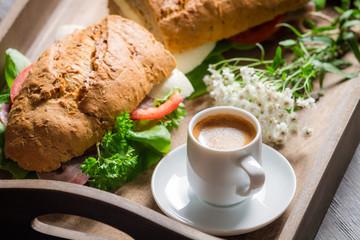 Italian breakfast with espresso and sandwich