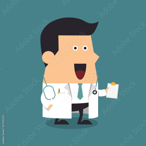 Doctor holding a clipboard, Illustration eps10