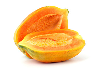 Papaya on white background
