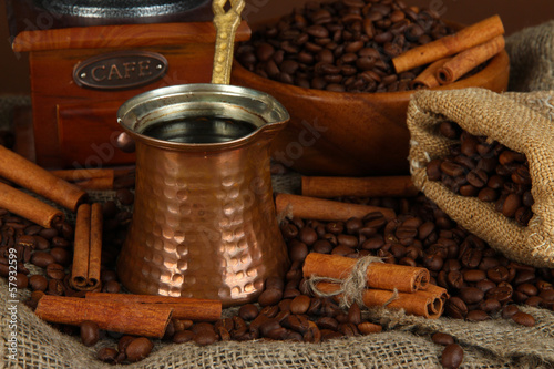 Coffee maker on dark background