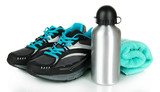 Fototapety Sports bottle,sneakers and towel isolated on white