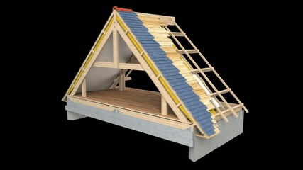 Footage showing stages and materials in roof construction