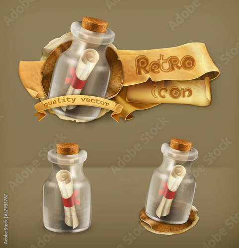 Message in bottle, vector icon
