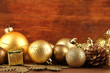 Beautiful Christmas decorations on table on wooden background