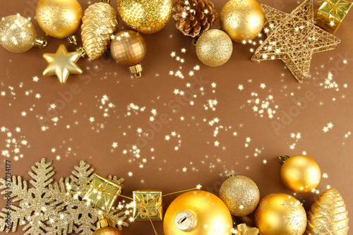 Beautiful Christmas decorations on brown background