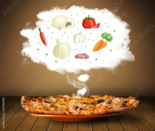 Pizza with vegetable ingredients illustration in cloud