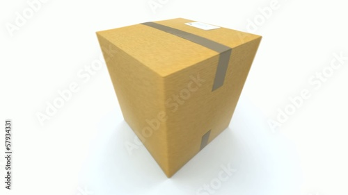 A Cardboard box turning around on a white background