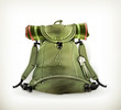Travel backpack, old style on white
