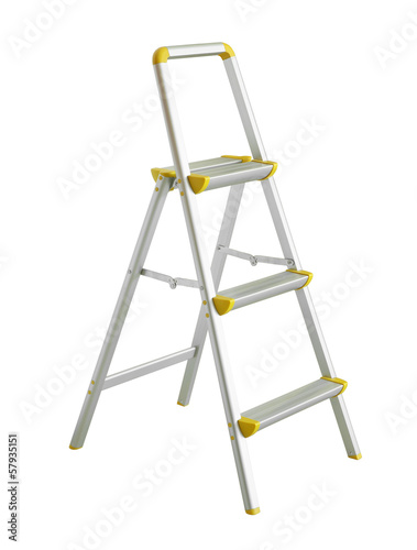 Folding stepladder (with clipping path) isolated on white backgr