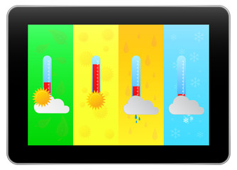 Business Tablet Indicate Weather Forecast With Four Seasons