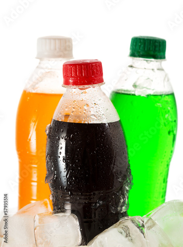 cold bottles of soda in ice